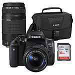 Canon Rebel T6i Premium Kit w/ 18-55, 75-300III, 16GB Card and 100ES Bag
