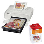 Canon SELPHY CP1300 Compact Photo Printer (White) with RP-108 Ink/Paper Set