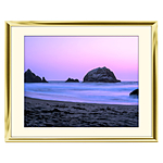 10x8 Custom Gold Metal Frame, Off-White Mat with Glass