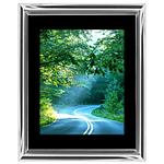 11x14 Custom Silver Metal Frame, Black Mat with Glass
