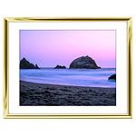 14x11 Custom Gold Metal Frame, White Mat with Glass