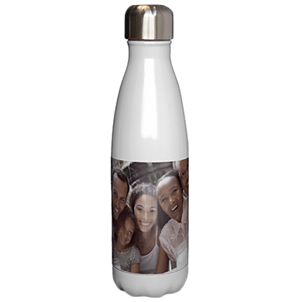 17 oz Slim White Photo Water Bottle
