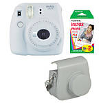 Fujifilm Instax Mini 9 Smokey White Camera with Film  and  Groovy Case