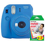 Fujifilm Instax Mini 9 Cobalt Blue Camera with Mini Film Twin Pack