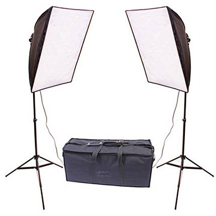 RPS Dual 20x20 Inch Square Folding Softbox Kit W/2-70Watt Flourescent Lamps