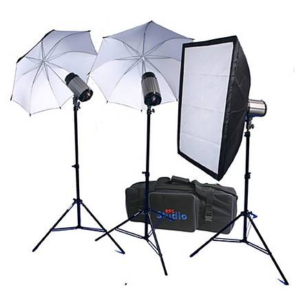 RPS Strobe 3 750WS Light Kit.  Includes Soft Box, Umbrellas, Stands  and  Case