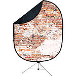 Savage 5x7 Collapsible Black/Weathered Backdrop with Stand
