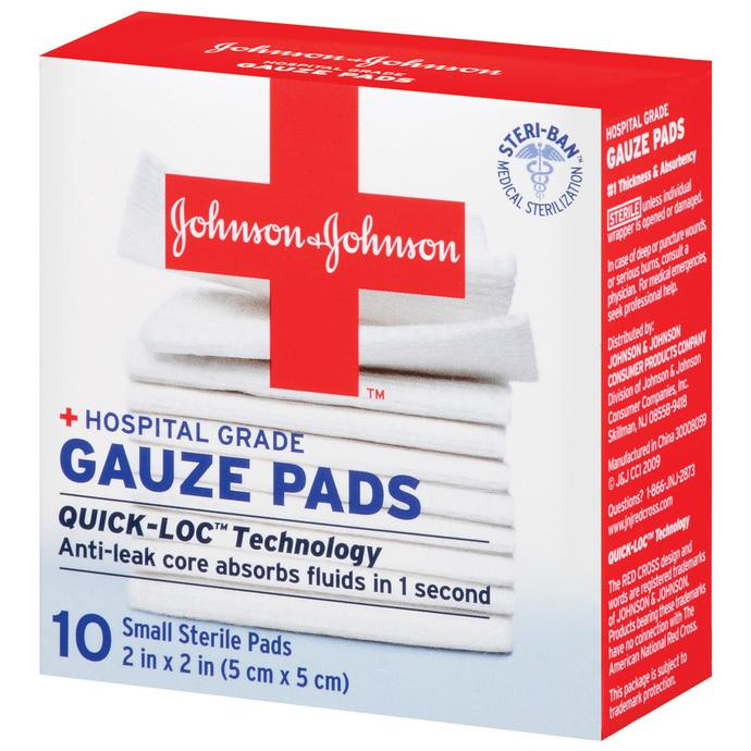 johnson and johnson gauze pads 10ct 2inch x 2inch first aid