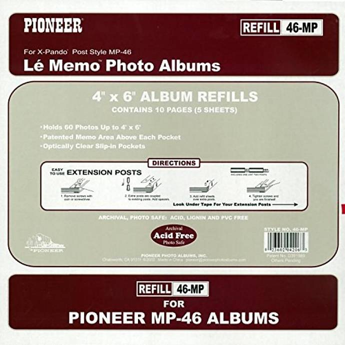 Pioneer Album Refill Pages For Mp 46 Album 60 Photos Pages
